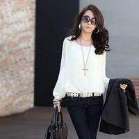 Chiffon Above Knee Cotton,Polyester skirt 2014 new Women's Fashion Sexy blouses Tops Bubble Long Sleeve Chiffon Loose Casual Career shirt women Blouse plus size S-XXL