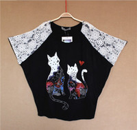 Wholesale Summer Sweet Girls Women Top Brand Lace Batwing Raglan Sleeved Shirts Tank Tops Round Neck Blouses with Lovely Cat Pattern Black Camisole