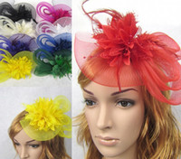 Wholesale models Feather and flower Fascinator Hat with black headband wedding ladies day