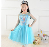 Wholesale Pre Sale Hot Frozen Lace Gauze Dress Kids Children Clothing Princess Elsa Tulle Yarn Dresses Child Kid Snow Queen Dressy Blue D2724