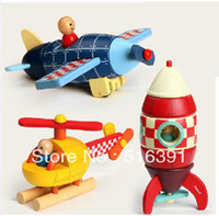 Wood Diecast Magnetic Export France Airplane Rocket Helicopter diy wooden toys Cartoon Magnetic diy wood mini vehicle model child toy birthday gift