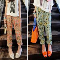 Pants Women Bootcut Women's Fashion Floral Prints Pattern Casual Wide Leg Palazzo Loose Pants Trousers # L0341094