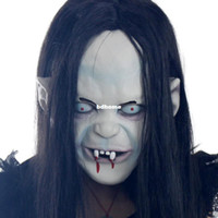 Wholesale Hot novelty Props Artificial hair Rubber caps Halloween witch ghost vendetta Sadako pullover horror masks scary oh really