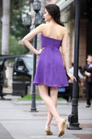 Reference Images Strapless Chiffon Sexy Cheap Purple Chiffon Silk-like Satin Strapless Sleeveless With Zipper Cocktail Gown Graduation Dresses 2014 Rehearsal Dinner Dress