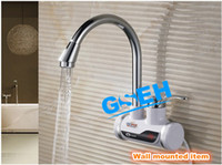 Bathroom Yes White Free shipping electric heating faucet water tap water heater fast heating in 3-5 seconds wall mounted item with digital display