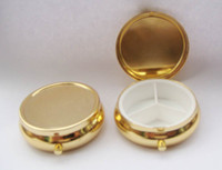 Pill Cases & Splitters Metal Eco-Friendly,Folding,Stocked 3PCS Golden Pill Boxes DIY Metal Pill Organizer pill case & container with keychian