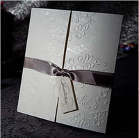 Wholesale Elegant Embossed Tri fold Wedding Invitations invitation Card With Silver Bows Accessory Decoration