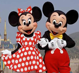 Wholesale In stock Couple Mickey amp Minne Mouse Cartoon Mascot Costume school mascots character Men s costumes for guys fast ship