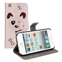 apple puppy - Cute Dog Puppy Pup Print Wallet Case For iPhone S Real Genuine Flip Leather Pouch Mobile Phone Cover Shell ID Credit Card Slot with Stand