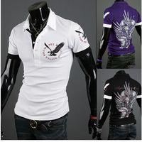 Wholesale New Stylish men s T shirts Short Polo T Shirt Eagle Tattoo Printing Men Slim Fit Casual T Shirt