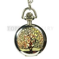 Bijoux Teboer 3pcs / LOT Klimt arbre de la vie de quartz collier montre de poche LPW833