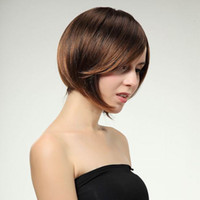 Wholesale Fashion MAYSU Short Straight Wig Sexy Women Light Brown Straight Hair Wig With Inclined Bang Style