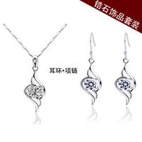 Wholesale Fashion Party Yiwu Meng light jewelry Korean Crystal Necklace Earrings Set Angel Love accessories market