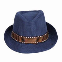 Stingy Brim Hat See Picture Yarn Dyed New 2014 Straw Hat 10pcs Lot Children Cotton Fashion Denim Blue Canvas Outdoor Sport Stingy Brim Hats Kids Jazz Hat Fedoras DZX15