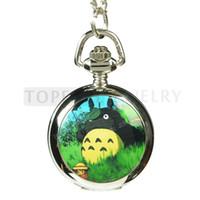 Livraison gratuite! 3pcs / LOT mon voisin Totoro quartz collier montre de poche LPW835
