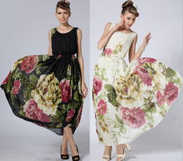 Summer Dresses 2015 New Women Ladies Print Chiffon Vest Long Dress Plus Size Maxi Dresses Bohemian Beach Dress Ball Gown