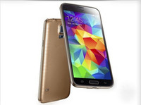 Wholesale Gold S5 i9600 with Sheath Finger Print Unlock MTK6582 Quad Core cell phone USB Air Gesture inch Android SM G900 Smartphone