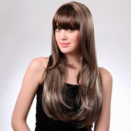 Wholesale Sexy Gray Wigs - Newest MAYSU Long Straight Wig Sexy Women Gray Straight Hair Wig With Neat Bang Style