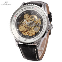 Ks Royale Carving Luxe Rétro Vintage Automatique Squelette mécanique Mens Wrist Wrap Gift Relogio Self Vent Leather Watch / KS110