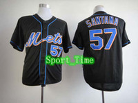 Wholesale Hot Johan Santana Black Baseball Jerseys New York quot Mets quot Cool Base Authentic Baseball Wear Cheap Outdoor Jersey Teams Sports Uniforms