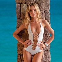Wholesale 2014 New Fashion Sexy Ladies Bandage Swimsuit White Blue Bikini V Neck One Piece Swimwear Set Beach Swimming Monokini