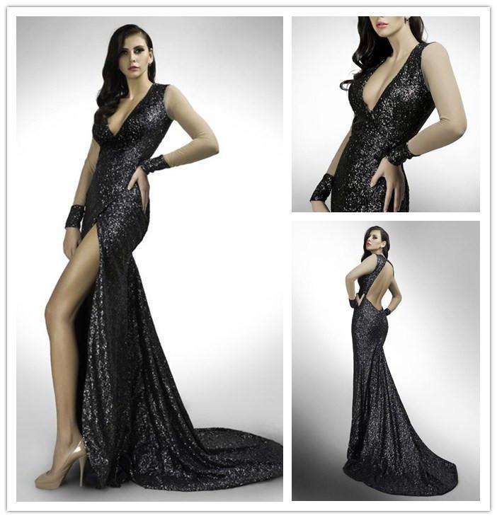 Absorbing Black Sequin Evening Dresses Fitted Deep V Neck Long ...