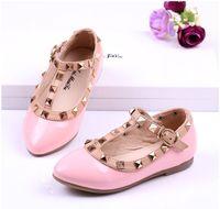 Summer rivet Pointed Toe children valentino shoes for girl rivet T strap children leather shoes for kids dress shoes