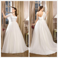 Wholesale 2014 Corset and Tulle wedding dresses Applique Beaded A Line One shoulder Organza Backless Bow Chapel Train Half Sleeve White Bridal Gowns