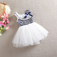 Wholesale 2014 new Summer girls dresses girl tutu dress baby clothing Striped kids cotton lace dress Children gauze skirt