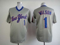 Baseball Men Short New York Style Mookie Wilsons Throwback Baseball Jerseys Mets #1 Grey Embroidered Sporting Jerseys for Cheap High Quality Outdoor Jerseys