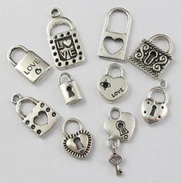 MIC 20Pcs or 120 pcs Mixed Tibetan Silver Lock Charm Pendant For Jewelry Making Craft DIY (80)