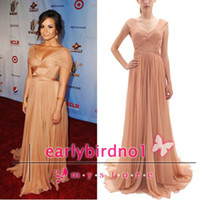 Wholesale Demi Lovato Celebrity Gowns Champagne Capped Sleeve A Line Pleated Chiffon Floor Length Long Formal Evening Gowns Custom BO1421