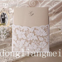 Wholesale 100pc Printable Wedding Invitations White Lace Hollow Wedding Card Design Foil Stamping Uneven mm g Paper color W Z55