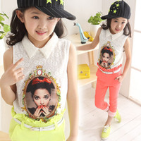 Wholesale New Older Girls Children Outfits Girls White Cartoon Portraits Lace T shirt Pure Color Capri Pants With Lace Floral Kids Suits Sets