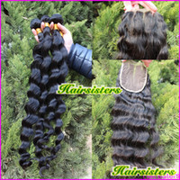 Wholesale Malaysian virgin hair loose curl wave Queen hair products part way lace closure with hair bundles natural color