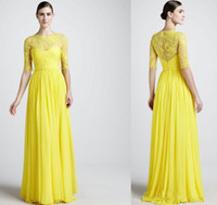 Reference Images Sash 1/2 Sleeve Vestidos Formales 2014 Elegant Light Yellow Long Sleeves Chiffon Bridesmaid Dresses Ruffles Beaded Floor Length Sheer Lace Prom Gowns