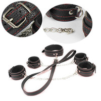 Unisex Item specifics Bondage Neck Collar Handcuffs Strap On Harness Leather Bondage Gear PU Neck Collar Handcuffs Bdsm Toys Sex Body Restraints