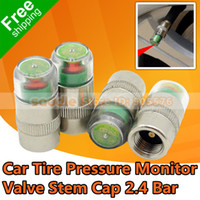 Wholesale 4PCS Car Tire Pressure Monitor Valve Stem Cap Bar Indicator Color Eye Alert Dropshipping