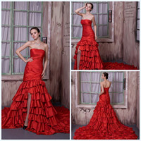 Wholesale 2014 Spring Hot Red Strapless Ruffle Fold Lace up Layered Flouncing Piping Sheath Chaple Train Lustrous Satin Wedding Dress Custom Made