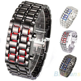 Wholesale 2014 New Fashion Men Women Lava Iron Samurai Metal LED Faceless Bracelet Watch Wristwatch Stainless Steel Novelty Item for Gift