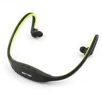 Wholesale Green handsfree Sports Headphones Earphones Headset Music MP3 Player Wireless Gym Running Jogging Support GB Micro SD TF