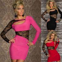 achat en gros de xxl clubwear mini robe-M XXL Taille Plus Freeshipping 2014 Nouvelle Mode Femmes Sexy Long Sleeve Lace Clubwear Mini robe Party Dress
