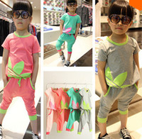 Wholesale 2014 Summer Fashion Brand Boys Clothing Children Leisure Colorful Short Sleeve T shirt Pants Sets Kids Candy Color Tracksuits I0557