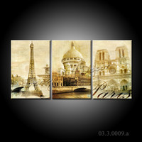 Cheap NO FRAME CANVAS ONLY Paris Eiffel Tower Architecture modern wall art canvas painting 3 panels canvas art home decor wall paper FREE SHIPPING