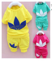 Wholesale 2014 Summer Fashion Brand Children Girls Boys Clothing Child Leisure Short Sleeve T shirt Pants Sets Kids Solid Tracksuits I0558
