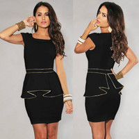 Wholesale M L XL Plus Size Dress New Fashion Women Black White Vintage Gold Edge Peplum Casual Dress Elegant OL Work Dress