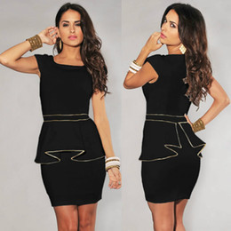 M L XL Plus Size Dress 2014 New Fashion Women Black White Vintage Gold Edge Peplum Casual Dress Elegant OL Work Dress