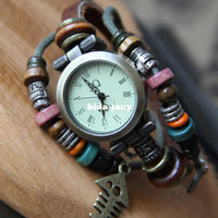 beaded watch straps - 2014 Hot Sales Retro amp Punk Watch High quality ROMA Dial Beaded Leather Strap Vine Antique Lady Bracelet Watch