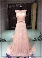 Real Photos Scoop Lace 2014 Luxurious Sheath Scoop Sweep Capped Beading Bows Beaded Sequin Backless Lace Evening gowns Perfect Prom dresses Real Pictures