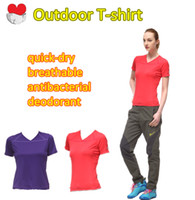 Wholesale Women s quick dry breathable antibacterial deodorant perspiration v neck outdoor T shirt B TW3